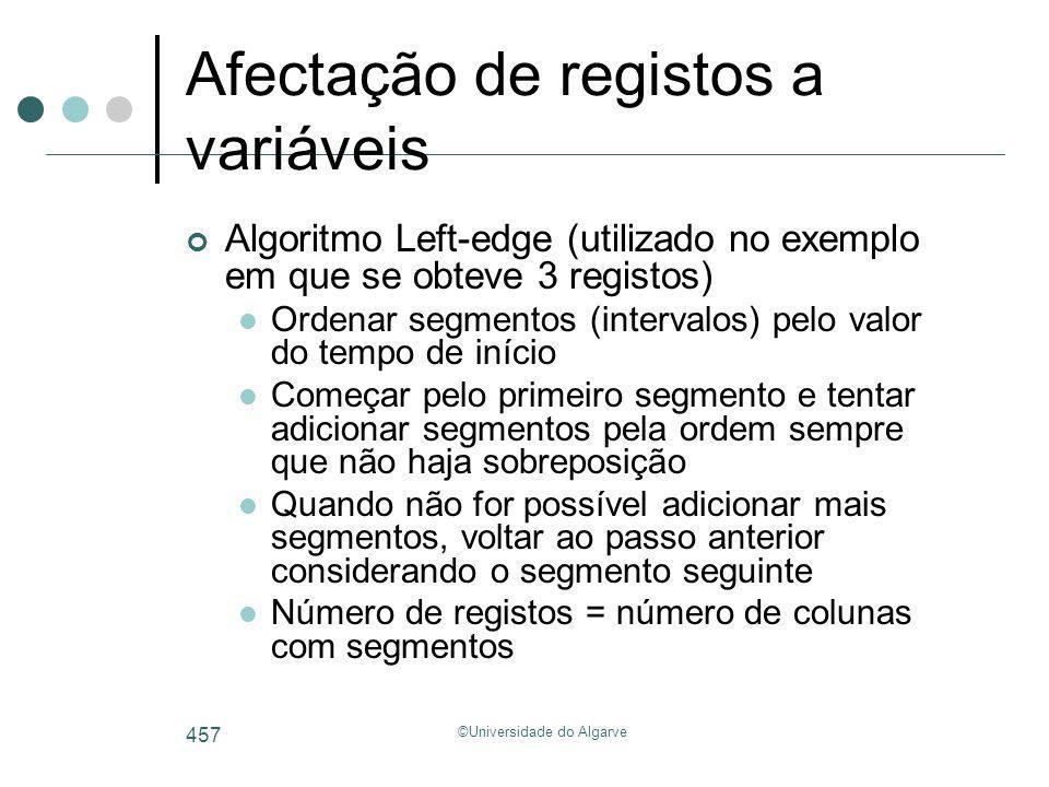 ©Universidade do Algarve 457 Afectação de registos a variáveis Algoritmo Left-edge (utilizado no exemplo em que se obteve 3 registos) Ordenar segmento