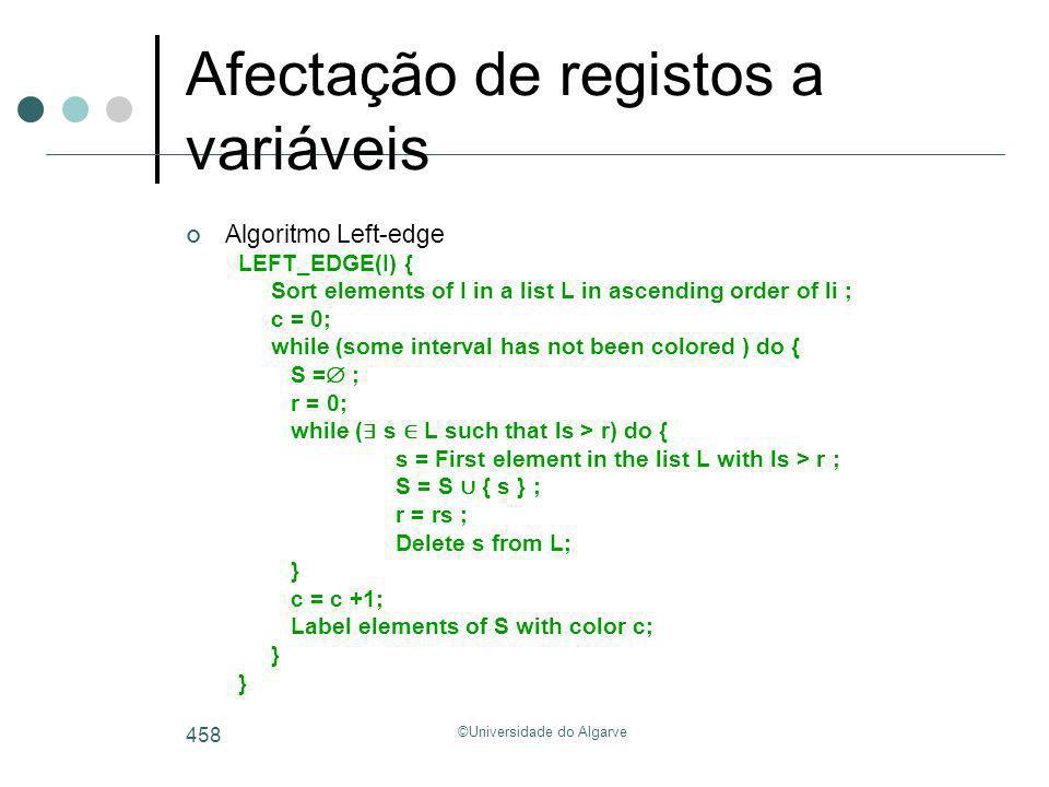 ©Universidade do Algarve 458 Afectação de registos a variáveis Algoritmo Left-edge LEFT_EDGE(I) { Sort elements of I in a list L in ascending order of