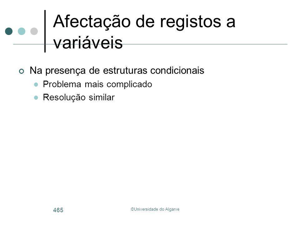 ©Universidade do Algarve 465 Afectação de registos a variáveis Na presença de estruturas condicionais Problema mais complicado Resolução similar