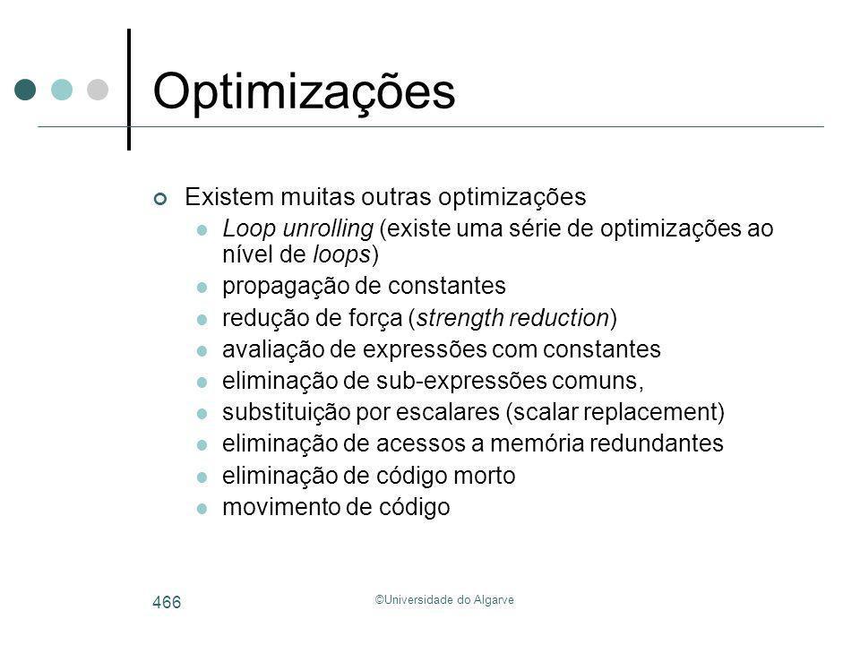 ©Universidade do Algarve 466 Optimizações Existem muitas outras optimizações Loop unrolling (existe uma série de optimizações ao nível de loops) propa