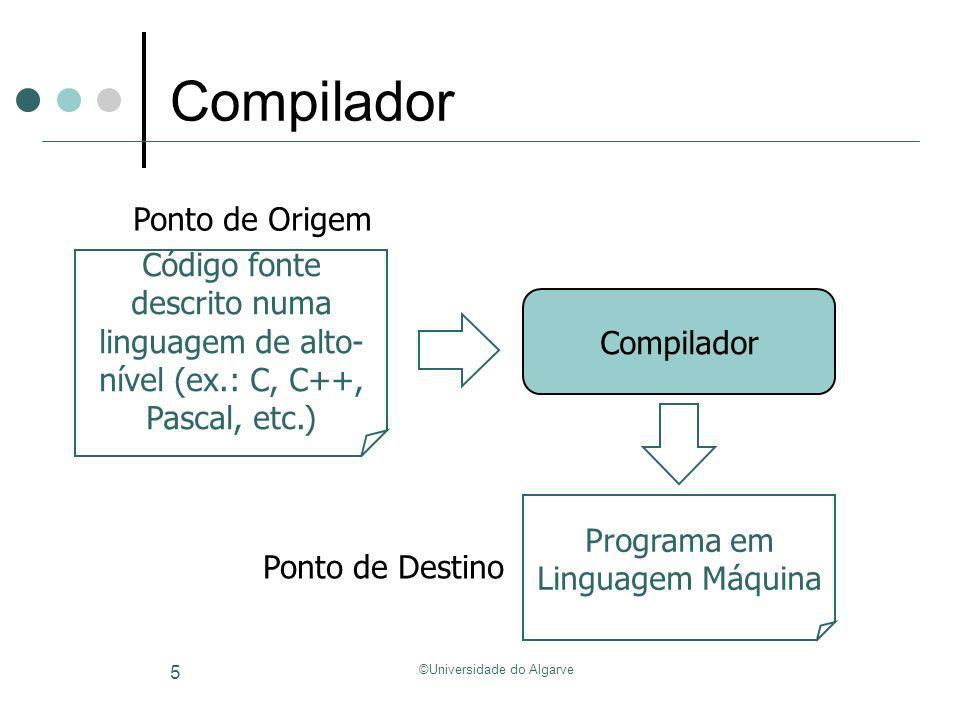 ©Universidade do Algarve 6 Ponto de Origem Linguagem imperativa (e.g., C/C++, Java, Pascal, etc.) Estado Variáveis escalares Variáveis do tipo array Registos Atributos de objectos (linguagens orientadas por objectos) Computação Expressões (aritméticas, lógicas, etc.) Enunciados de atribuição Fluxo de controlo (if, switch, etc.) Procedimentos (métodos nas linguagens orientadas por objectos) Int sum(int A[], int N) { Int i, sum = 0; For(i=0; i<N; i++) { sum = sum + A[i]; } return sum; }