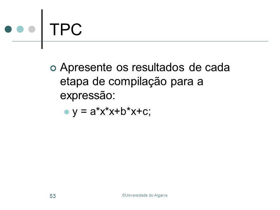 ©Universidade do Algarve 53 TPC Apresente os resultados de cada etapa de compilação para a expressão: y = a*x*x+b*x+c;