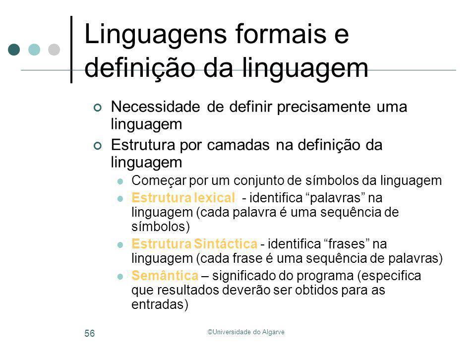 ©Universidade do Algarve 56 Linguagens formais e definição da linguagem Necessidade de definir precisamente uma linguagem Estrutura por camadas na def