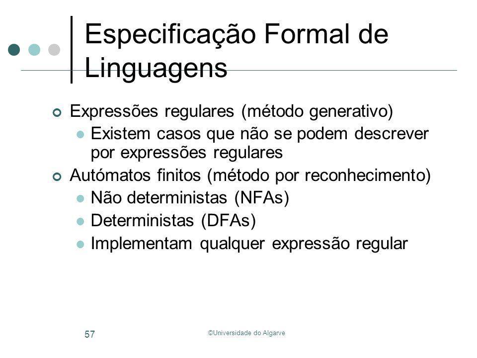 ©Universidade do Algarve 57 Especificação Formal de Linguagens Expressões regulares (método generativo) Existem casos que não se podem descrever por e