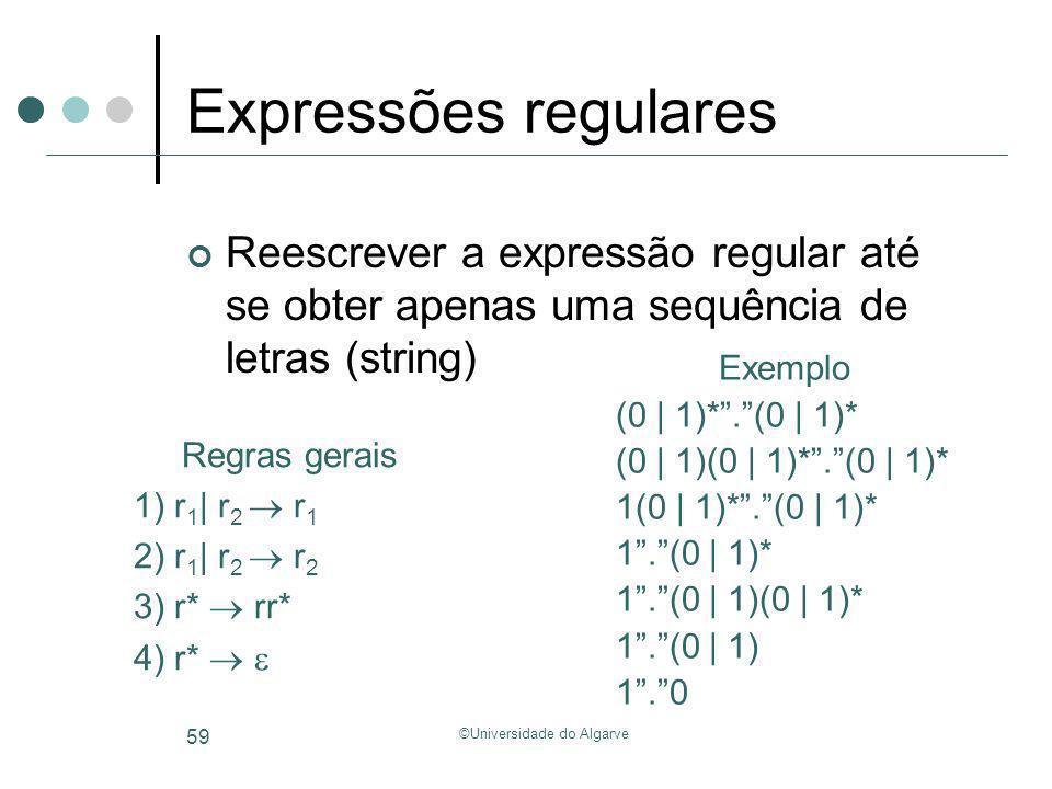 ©Universidade do Algarve 59 Expressões regulares Reescrever a expressão regular até se obter apenas uma sequência de letras (string) Exemplo (0 | 1)*.