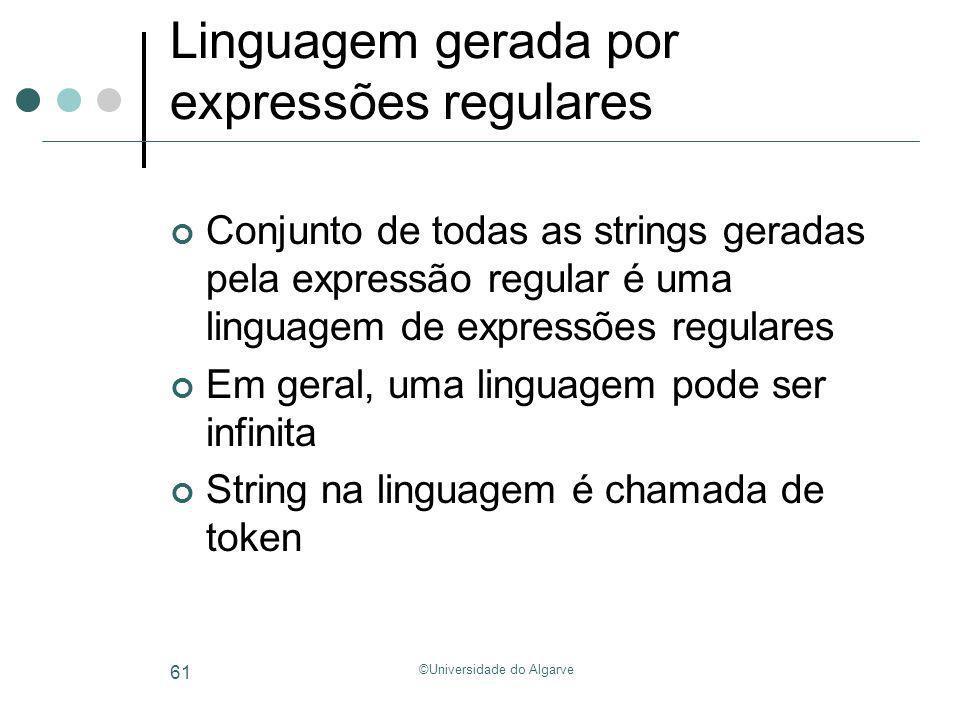 ©Universidade do Algarve 61 Linguagem gerada por expressões regulares Conjunto de todas as strings geradas pela expressão regular é uma linguagem de e
