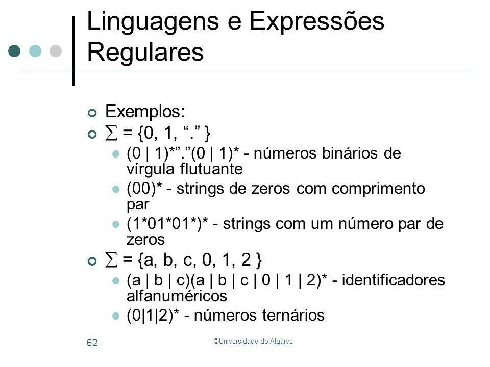 ©Universidade do Algarve 62 Linguagens e Expressões Regulares Exemplos: = {0, 1,. } (0 | 1)*.(0 | 1)* - números binários de vírgula flutuante (00)* -