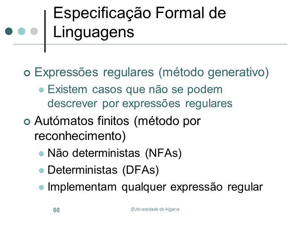©Universidade do Algarve 66 Especificação Formal de Linguagens Expressões regulares (método generativo) Existem casos que não se podem descrever por e