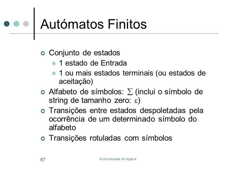 ©Universidade do Algarve 67 Autómatos Finitos Conjunto de estados 1 estado de Entrada 1 ou mais estados terminais (ou estados de aceitação) Alfabeto d