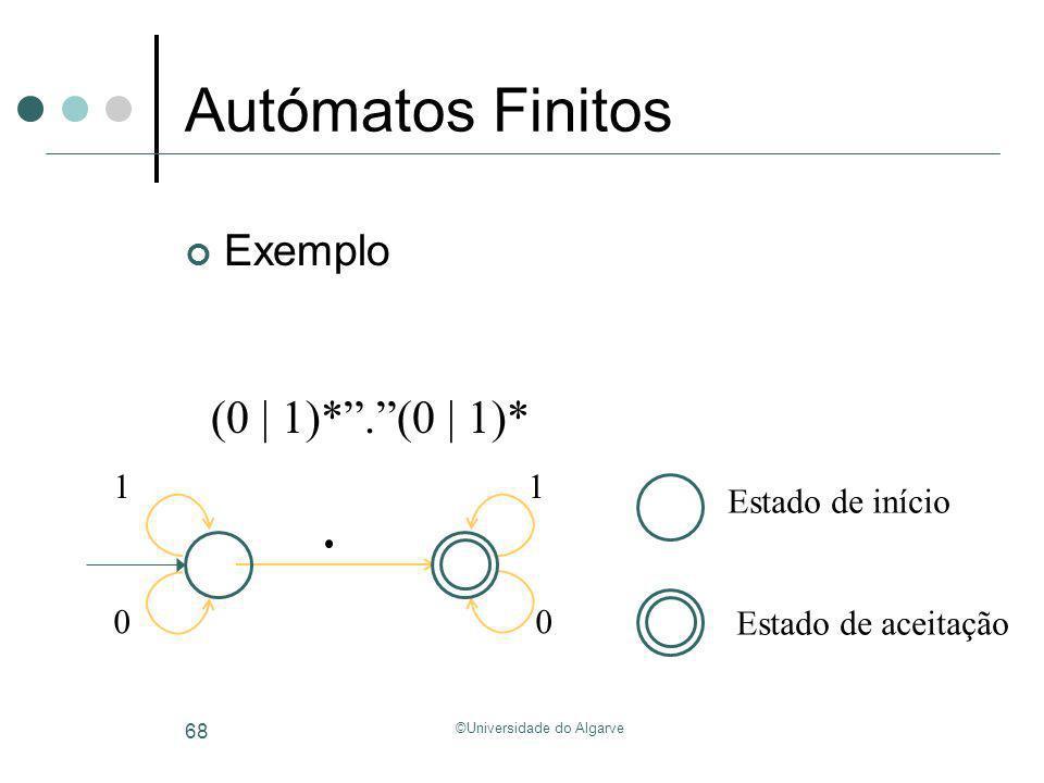 ©Universidade do Algarve 68 Autómatos Finitos Exemplo Estado de início Estado de aceitação 1 0 1 0 (0 | 1)*.(0 | 1)*