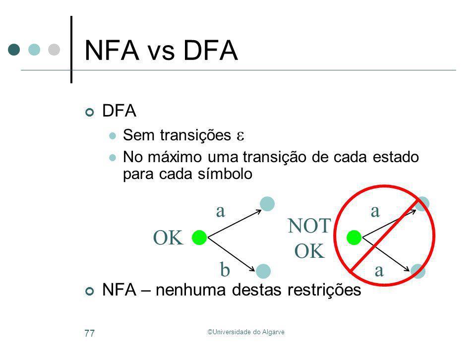 ©Universidade do Algarve 77 NFA vs DFA DFA Sem transições No máximo uma transição de cada estado para cada símbolo NFA – nenhuma destas restrições a a