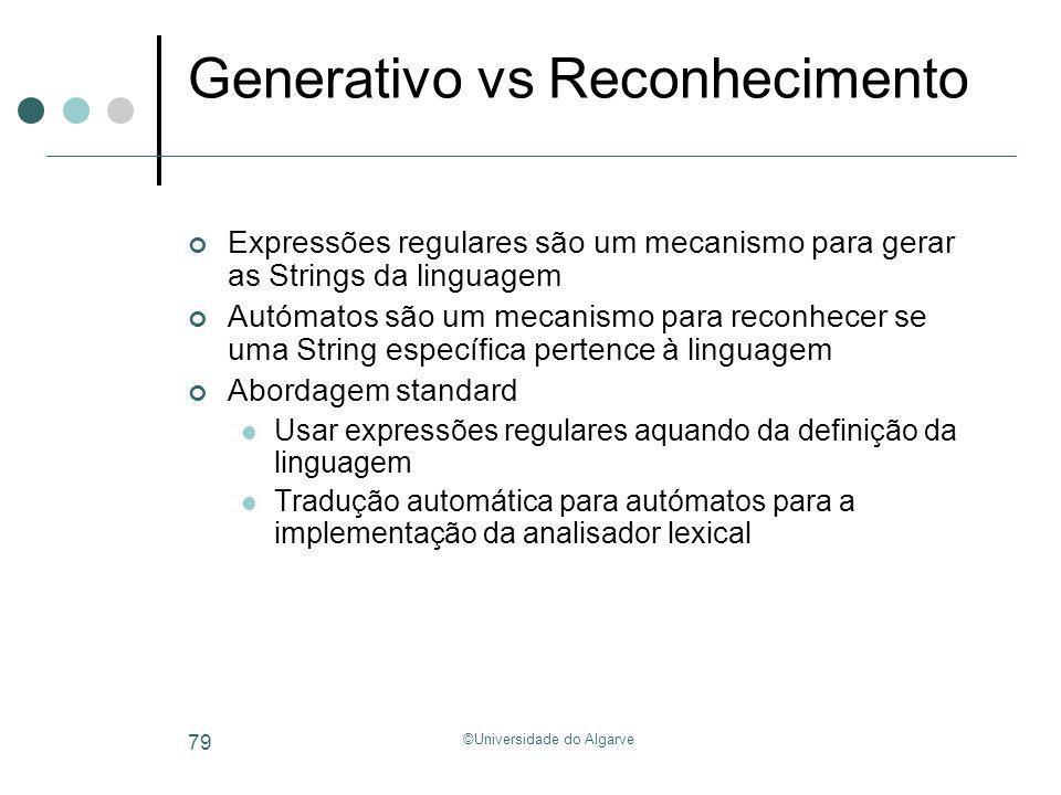 ©Universidade do Algarve 79 Generativo vs Reconhecimento Expressões regulares são um mecanismo para gerar as Strings da linguagem Autómatos são um mec