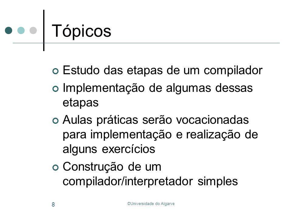 ©Universidade do Algarve 49 Análise Semântica Semantic Analyzer Syntax Analyzer (Parser) Árvore sintáctica Syntax Analyzer (Parser) Lexical Analyzer (Scanner) Cadeia de Tokens Programa (cadeia de caracteres) Representação intermédia tmp1 = b*x; tmp2 = tmp1 + c;