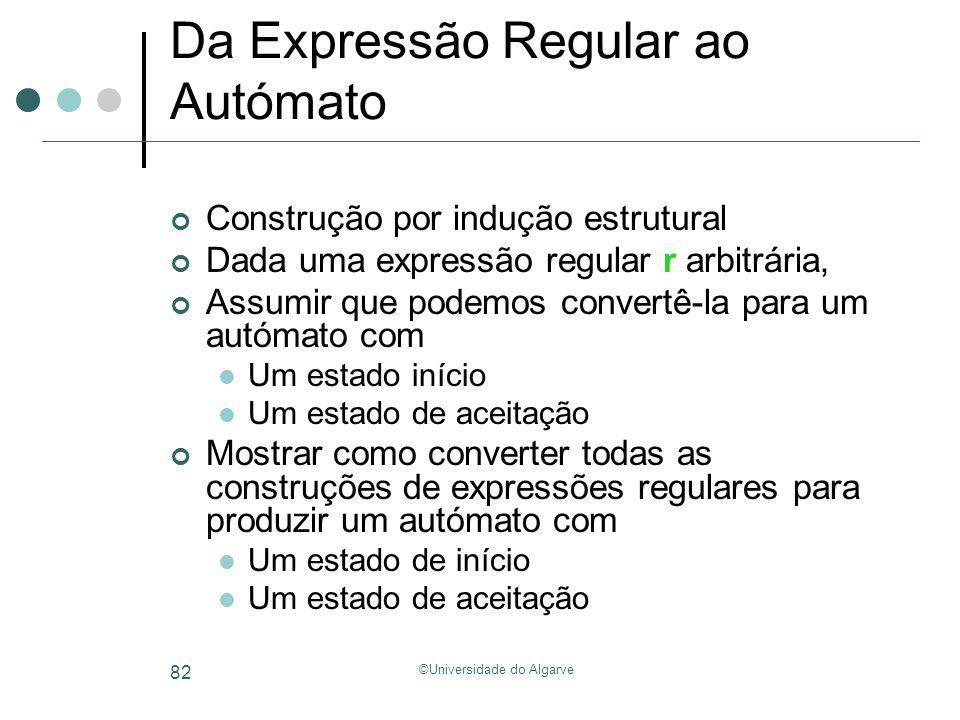 ©Universidade do Algarve 82 Da Expressão Regular ao Autómato Construção por indução estrutural Dada uma expressão regular r arbitrária, Assumir que po