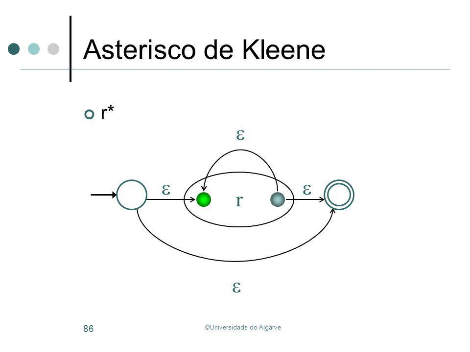 ©Universidade do Algarve 86 Asterisco de Kleene r* r