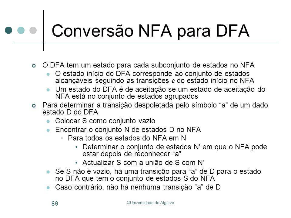 ©Universidade do Algarve 89 Conversão NFA para DFA O DFA tem um estado para cada subconjunto de estados no NFA O estado início do DFA corresponde ao c
