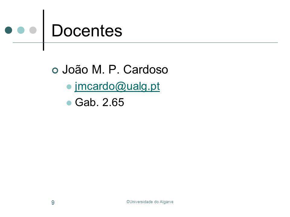 ©Universidade do Algarve 10 Conteúdo Programático Aulas Teóricas Introdução Análise lexical Análise Sintáctica Análise Semântica Tradução para código intermédio Geração de código final Optimização de código Tópicos avançados