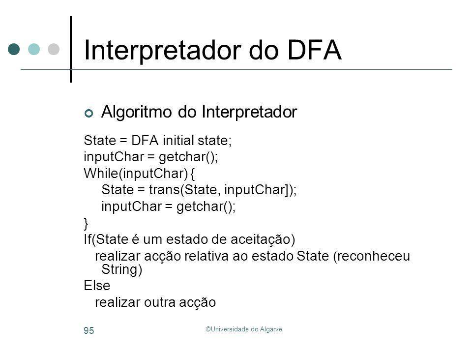©Universidade do Algarve 95 Interpretador do DFA State = DFA initial state; inputChar = getchar(); While(inputChar) { State = trans(State, inputChar])