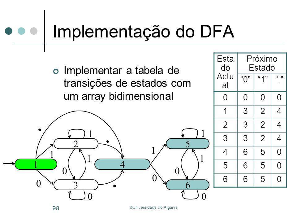 ©Universidade do Algarve 98 Implementação do DFA Implementar a tabela de transições de estados com um array bidimensional 1 2 3 4 5 6 1 0 1 0 1 0 1 0