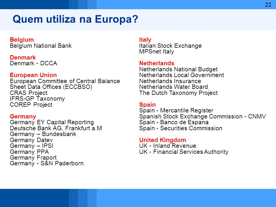 22 Quem utiliza na Europa? Belgium Belgium National Bank Denmark Denmark - DCCA European Union European Committee of Central Balance Sheet Data Office