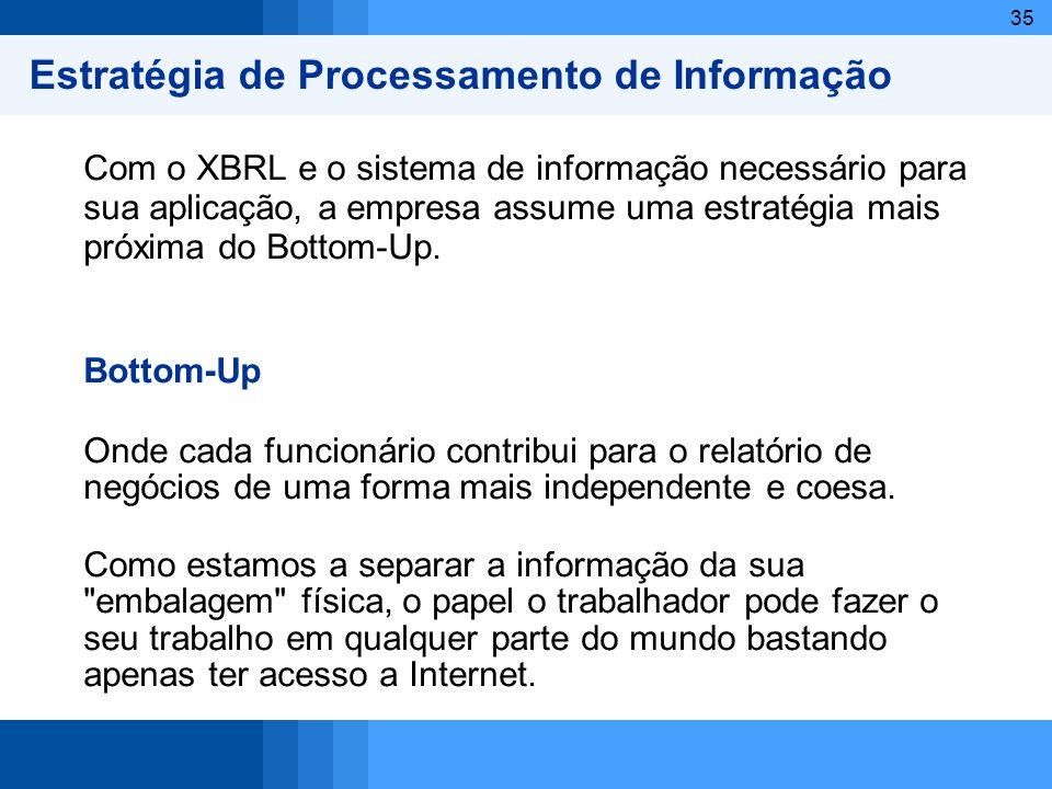 35 Estratégia de Processamento de Informação Com o XBRL e o sistema de informação necessário para sua aplicação, a empresa assume uma estratégia mais