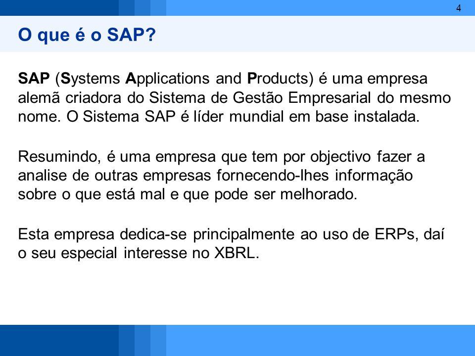 4 O que é o SAP? SAP (Systems Applications and Products) é uma empresa alemã criadora do Sistema de Gestão Empresarial do mesmo nome. O Sistema SAP é