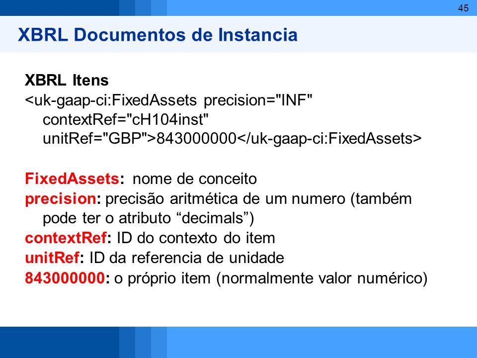 45 XBRL Documentos de Instancia XBRL Itens 843000000 FixedAssets: nome de conceito precision: precisão aritmética de um numero (também pode ter o atri