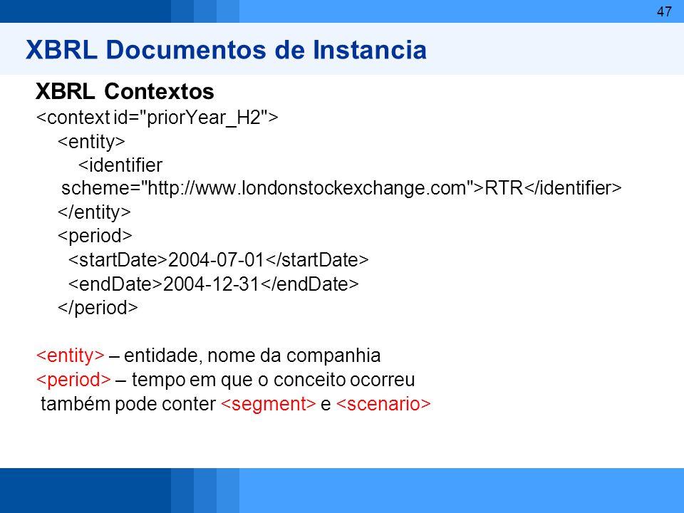 47 XBRL Documentos de Instancia XBRL Contextos RTR 2004-07-01 2004-12-31 – entidade, nome da companhia – tempo em que o conceito ocorreu também pode c