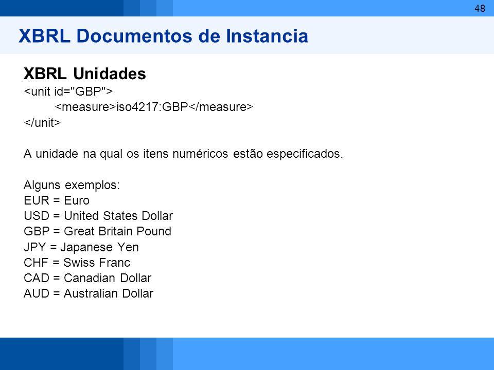 48 XBRL Documentos de Instancia XBRL Unidades iso4217:GBP A unidade na qual os itens numéricos estão especificados. Alguns exemplos: EUR = Euro USD =
