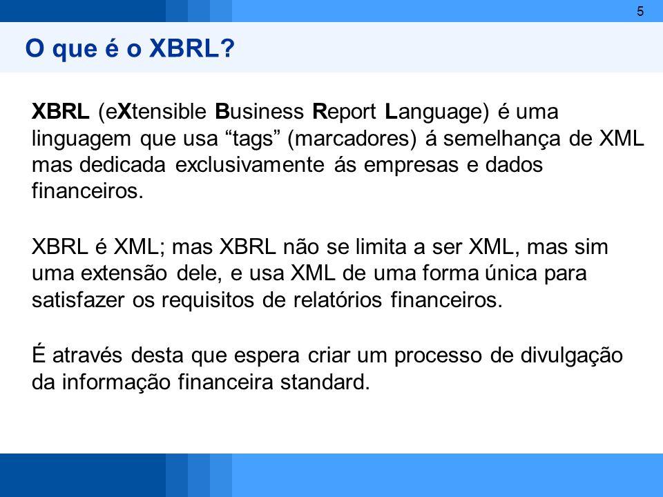 5 O que é o XBRL? XBRL (eXtensible Business Report Language) é uma linguagem que usa tags (marcadores) á semelhança de XML mas dedicada exclusivamente