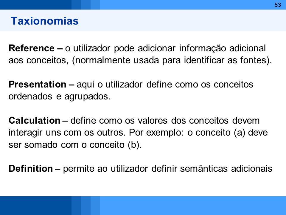 53 Taxionomias Reference – o utilizador pode adicionar informação adicional aos conceitos, (normalmente usada para identificar as fontes). Presentatio