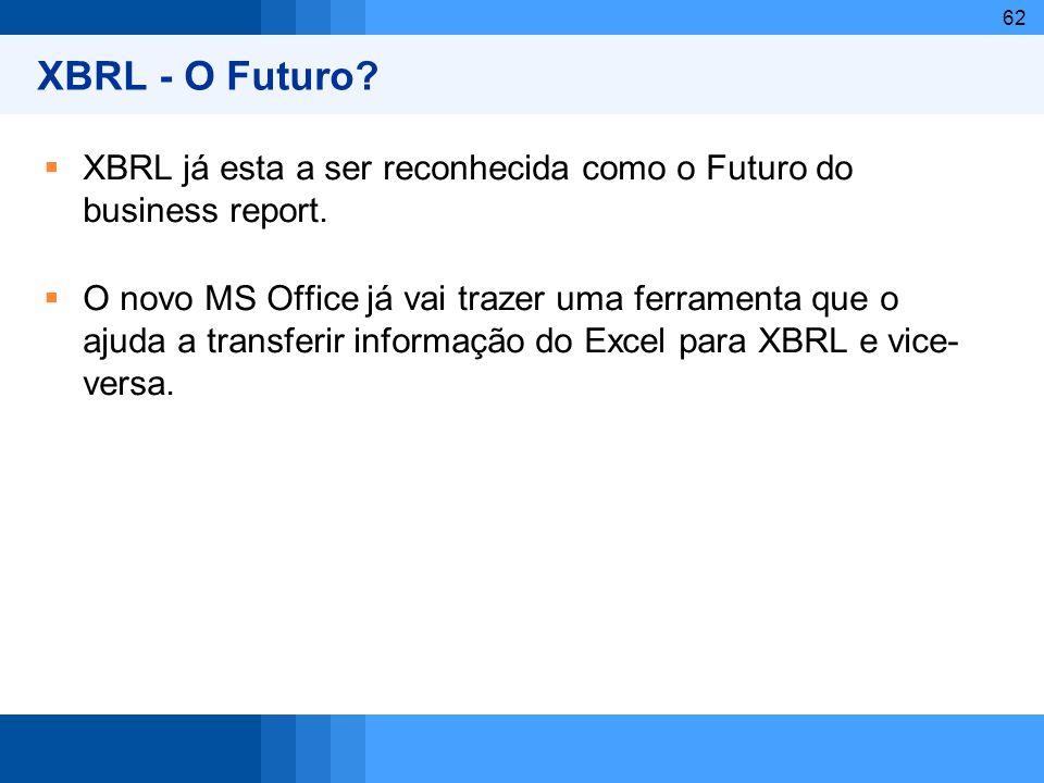 62 XBRL - O Futuro? XBRL já esta a ser reconhecida como o Futuro do business report. O novo MS Office já vai trazer uma ferramenta que o ajuda a trans