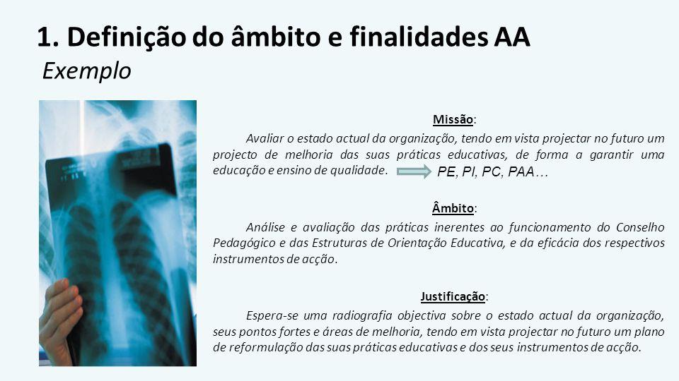 1. Definição do âmbito e finalidades AA Exemplo Missão: Avaliar o estado actual da organização, tendo em vista projectar no futuro um projecto de melh
