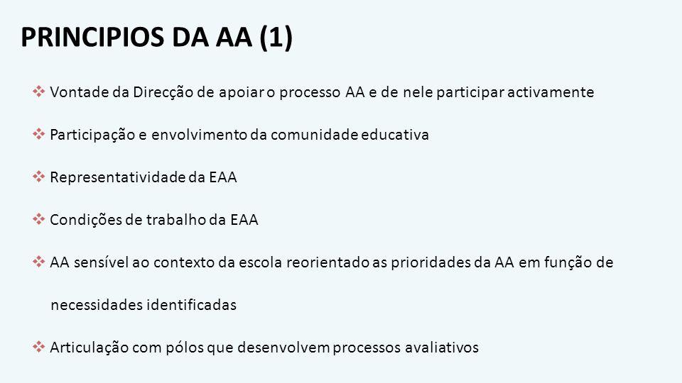 PRINCIPIOS DA AA (2) AA como parte integrante do processo de planificação e de tomada de decisão Inclusão da AA nos documentos estratégicos Existência de canais de comunicação para divulgação de processos e resultados Implementação de acções de melhoria e respectiva monitorização Partilha de boas práticas Avaliação e replaneamento da AA à luz dos objectivos da organização escolar Persistência de ciclos consecutivos até existir auto-sustentabilidade consequente