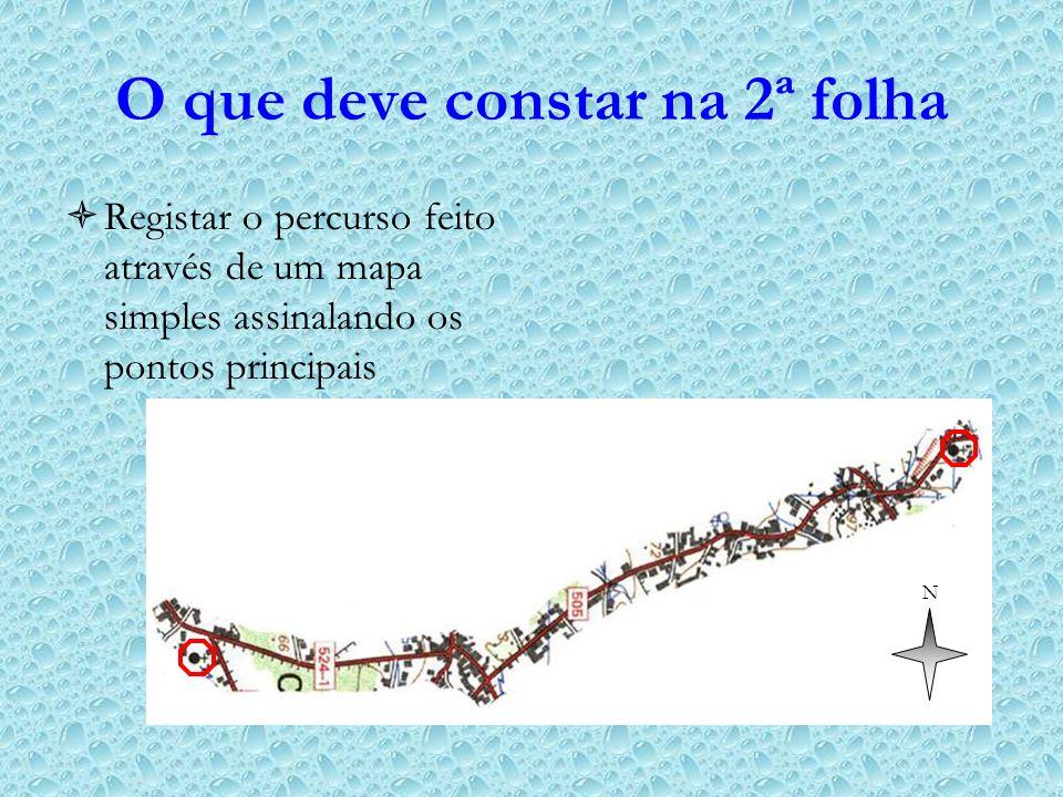 O que deve constar na 2ª folha Registar o percurso feito através de um mapa simples assinalando os pontos principais N