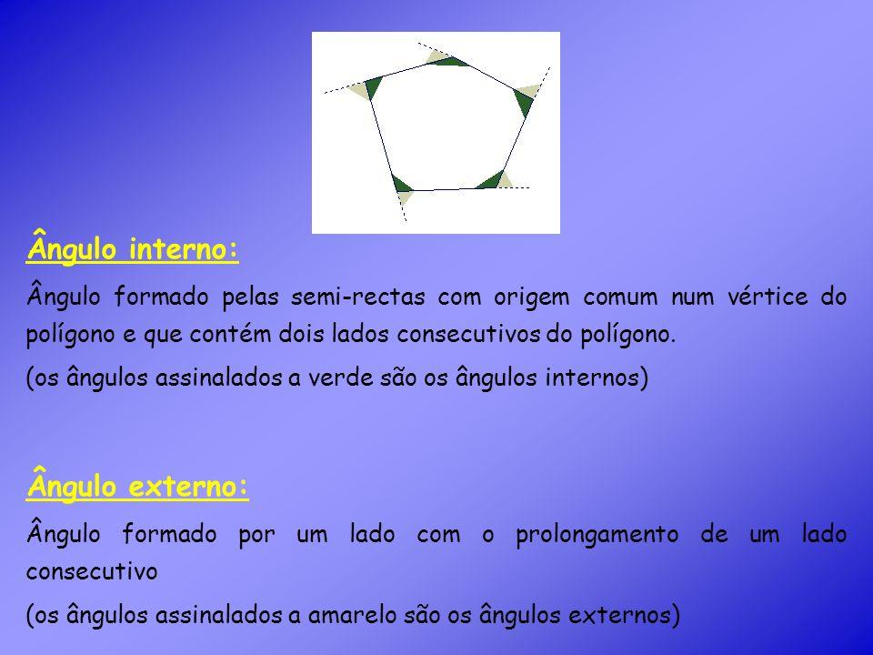 Ângulo interno: Ângulo formado pelas semi-rectas com origem comum num vértice do polígono e que contém dois lados consecutivos do polígono.