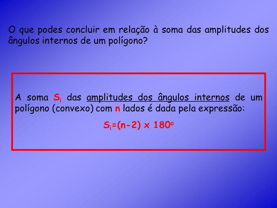 O que podes concluir em relação à soma das amplitudes dos ângulos internos de um polígono.