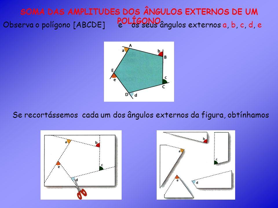 Se agora juntássemos os ângulos externos pelos seus vértices, ficava A que é igual a soma das amplitudes dos ângulos externos deste polígono.
