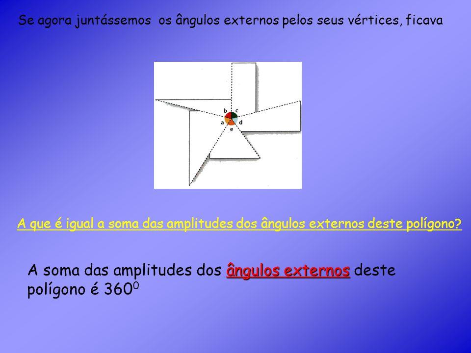 De um modo geral prova-se que: amplitudes dos ângulos externos A soma das amplitudes dos ângulos externos de um polígono (convexo) é sempre igual a 360 0.