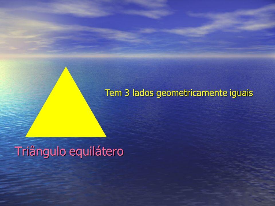 Triângulo equilátero Tem 3 lados geometricamente iguais