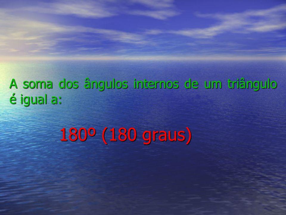A soma dos ângulos internos de um triângulo é igual a: 180º (180 graus)