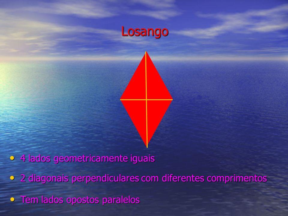 Losango 4 lados geometricamente iguais 4 lados geometricamente iguais 2 diagonais perpendiculares com diferentes comprimentos 2 diagonais perpendicula