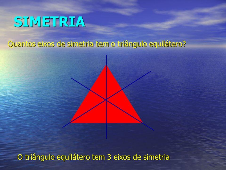 SIMETRIA O triângulo equilátero tem 3 eixos de simetria Quantos eixos de simetria tem o triângulo equilátero?