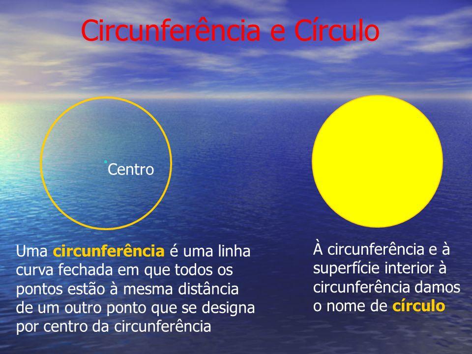 Circunferência e Círculo Uma circunferência é uma linha curva fechada em que todos os pontos estão à mesma distância de um outro ponto que se designa