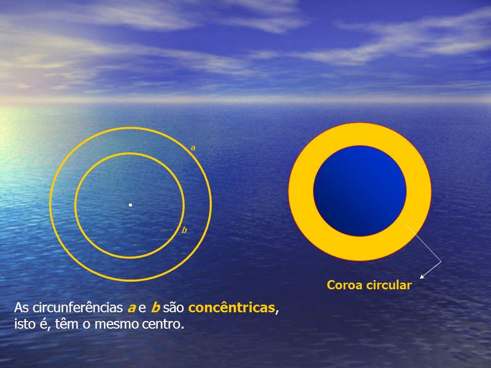 a b As circunferências a e b são concêntricas, isto é, têm o mesmo centro. Coroa circular