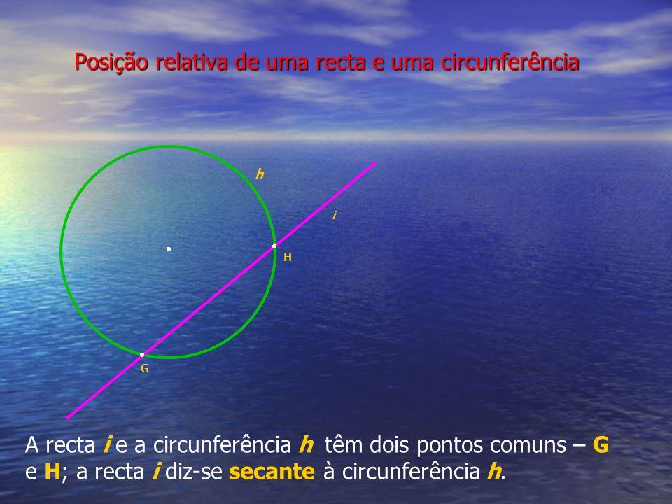 Posição relativa de uma recta e uma circunferência h A recta i e a circunferência h têm dois pontos comuns – G e H; a recta i diz-se secante à circunf