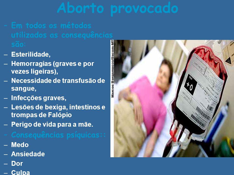 Aborto provocado –Em todos os métodos utilizados as consequências são: –Esterilidade, –Hemorragias (graves e por vezes ligeiras), –Necessidade de tran
