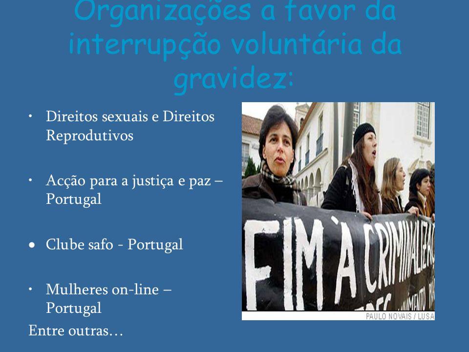 Organizações a favor da interrupção voluntária da gravidez: Direitos sexuais e Direitos Reprodutivos Acção para a justiça e paz – Portugal Clube safo