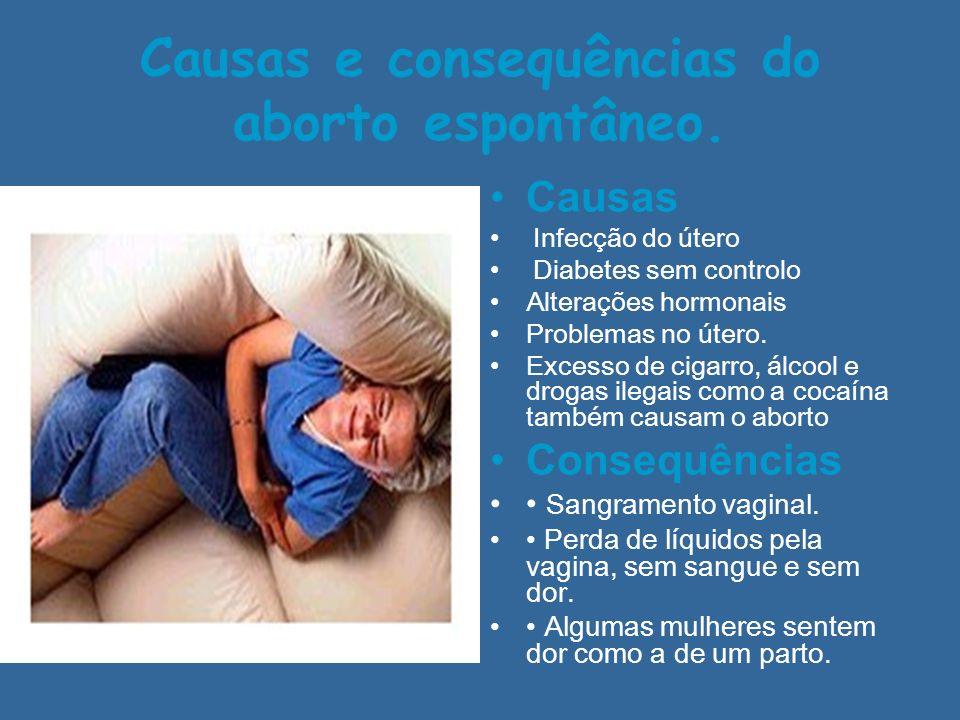 Causas e consequências do aborto espontâneo. Causas Infecção do útero Diabetes sem controlo Alterações hormonais Problemas no útero. Excesso de cigarr
