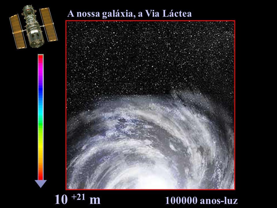 10 +21 m 100000 anos-luz A nossa galáxia, a Via Láctea